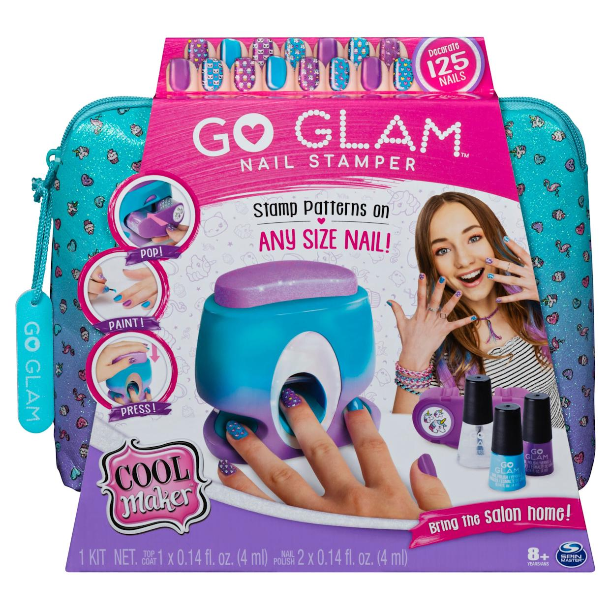 "Easily stamp and style custom manicures with the Cool Maker GO GLAM Nail Stamper! This at-home nail studio includes everything you need to decorate up to 125 nails of any size! With five trendy nail patterns to choose from &ndash; unicorns, cupcakes, flamingos and more &ndash; girls can mix and match to express their own unique style! Salon quality nails are as easy as pop, paint and press! <strong><a href=""https://fave.co/2PEU5Du"" rel=""nofollow noopener"" target=""_blank"" data-ylk=""slk:Find it for $25 at Walmart"" class=""link rapid-noclick-resp"">Find it for $25 at Walmart </a></strong>."