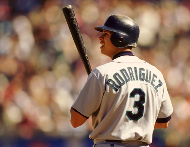 After two brief stints in the majors, Alex Rodriguez got his first opening day experience in 1996. He would go on to bat .358 and finish second in AL MVP voting that season. (Photo by Ron Vesely/MLB Photos via Getty Images)