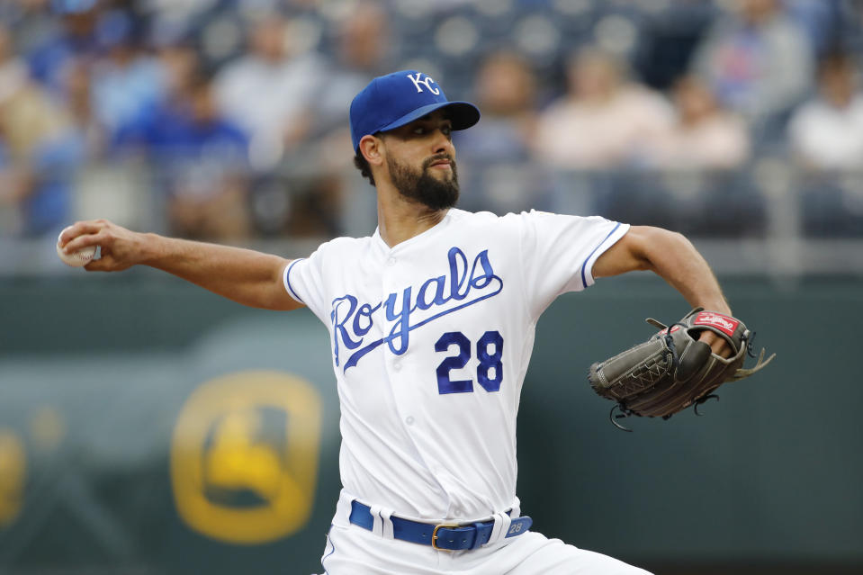 Kansas City Royals pitcher Jorge Lopez throws against the Baltimore Orioles in the first inning of a baseball game at Kauffman Stadium in Kansas City, Mo., Saturday, Aug. 31, 2019. (AP Photo/Colin E. Braley)