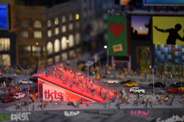 A miniature model of Times Square in New York, part of Gulliver's Gate, a miniature world being recreated in a 49,000-square-foot exhibit space in Times Square, is seen during a preview April 10, 2017 in New York City