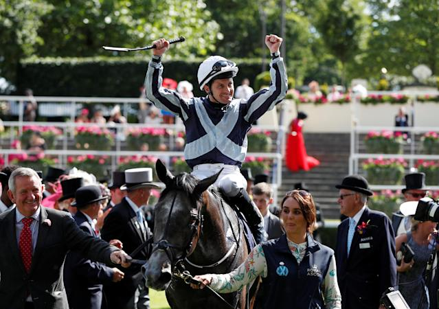 Horse Racing - Royal Ascot - Ascot Racecourse, Ascot, Britain - June 22, 2018 Colm O'Donoghue celebrates winning the 4.20 Coronation Stakes on Alpha Centauri Action Images via Reuters/Paul Childs