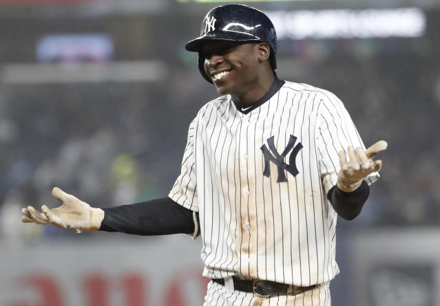 Thanks to a misspelling in a Didi Gregorius promotion, not all of the errors at Yankee Stadium were made by players Tuesday. (AP Photo)