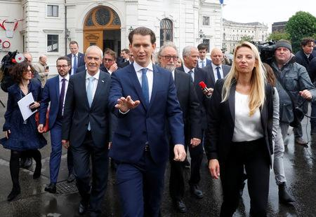 Austria's Chancellor Sebastian Kurz leaves the presidential office after the swearing-in ceremony of the new ministers in Vienna, Austria May 22, 2019. REUTERS/Leonhard Foeger