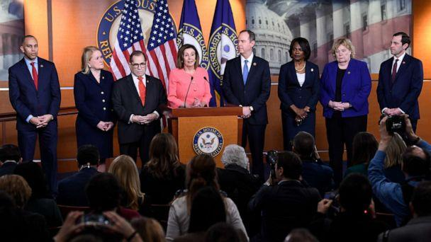 PHOTO: House Speaker Nancy Pelosi of Calif., speaks during a news conference to announce impeachment managers on Capitol Hill in Washington, Wednesday, Jan. 15, 2020. (Susan Walsh/AP)