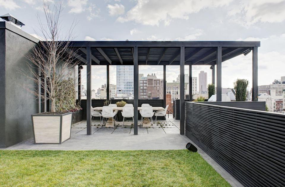 "<p>Buy a small plot of grass for your roof to lounge and play games, for your own personal park.</p><p><em>Design by </em><a href=""http://designers.elledecor.com/interior-designers/kara-mann-design"" rel=""nofollow noopener"" target=""_blank"" data-ylk=""slk:Kara Mann Design"" class=""link rapid-noclick-resp""><em>Kara Mann Design</em></a></p>"