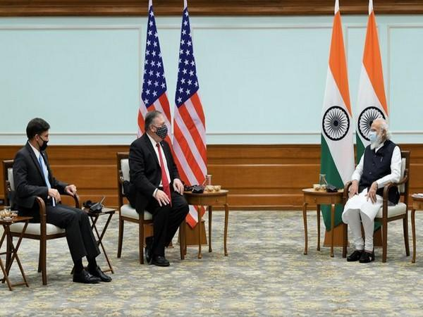 The US Secretaries of State and Defense Mike Pompeo and Mark Esper meet Prime Minister Narendra Modi on Tuesday. (Photo/ANI)