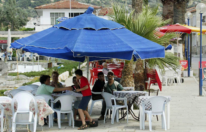The tragic incident occurred at a cafe in the seaside resort of Foca (Picture: REX Features)