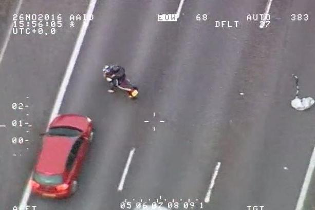 Danger: one of the riders crosses lanes on the M11