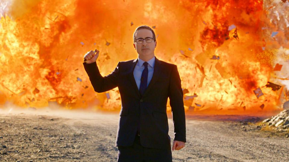 John Oliver literally blew up 2020 (or at least a sign) in November's season finale of HBO's 'Last Week Tonight.'