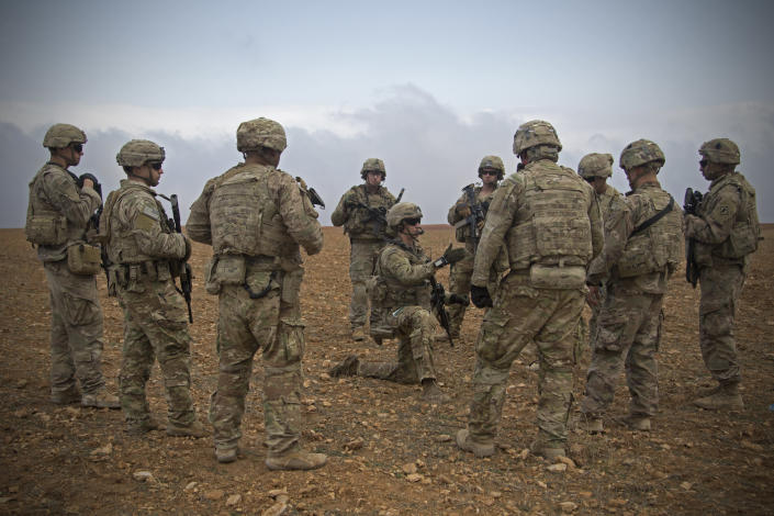 U.S. soldiers gather for a briefing during a combined joint patrol rehearsal in Manbij, Syria, on Nov. 7. (Photo: U.S. Army photo by Spc. Zoe Garbarino via AP)
