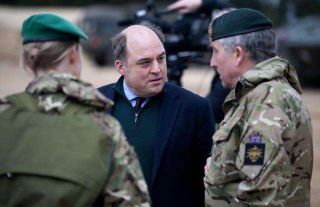 Defence Secretary Ben Wallace talking to troops