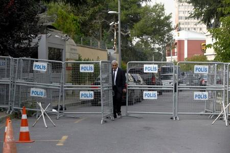 FILE PHOTO: An official walks past the barriers at the gate of Saudi Arabia's consulate in Istanbul
