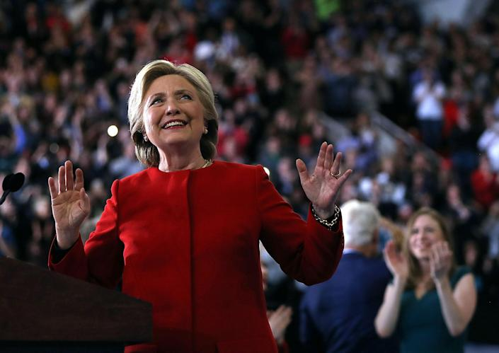 <p>Democratic presidential nominee former Secretary of State Hillary Clinton speaks during a campaign rally at North Carolina State University on Nov. 8, 2016 in Raleigh, N.C.(Photo: Justin Sullivan/Getty Images) </p>