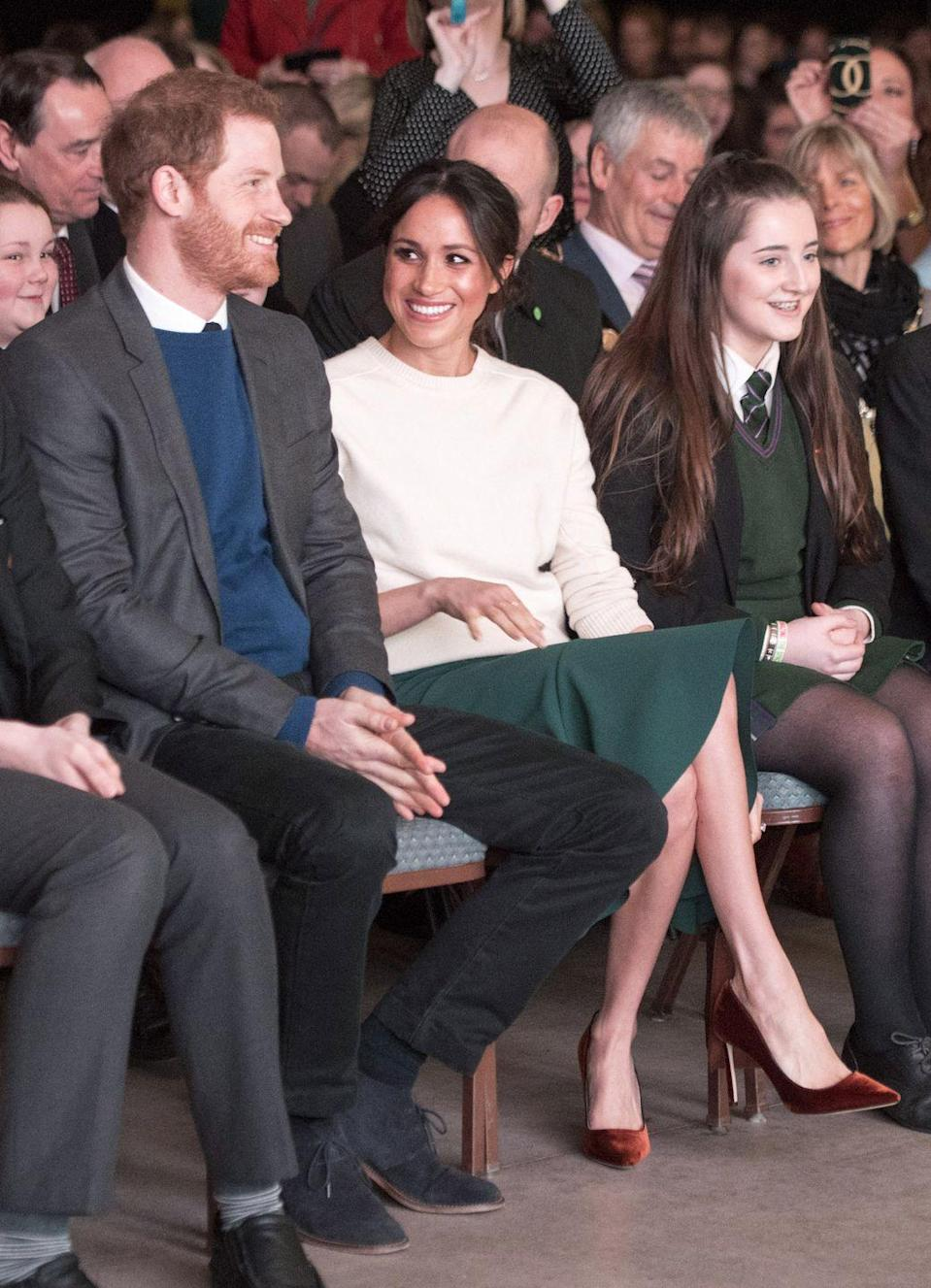 "<p><a href=""https://www.townandcountrymag.com/style/fashion-trends/a19570335/meghan-markle-outfit-belfast/"" rel=""nofollow noopener"" target=""_blank"" data-ylk=""slk:Get all the details on Meghan Markle's outfit here."" class=""link rapid-noclick-resp"">Get all the details on Meghan Markle's outfit here.</a></p>"