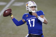 FILE - In this Friday, Dec. 11, 2020 file photo, San Jose State quarterback Nick Starkel (17) looks to throw against Nevada during the first half of an NCAA college football game in Las Vegas. No. 25 San Jose State will face perennial conference powerhouse Boise State in the Mountain West championship on Saturday, Dec. 19, 2020 in Las Vegas. The game is usually played on the higher seeds home field but this year it will be held at Sam Boyd Stadium. (AP Photo/John Locher, File)