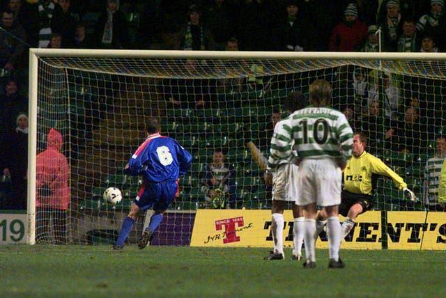 Paul Sherrin (left) scores as Inverness shock Celtic with a 3-1 win in the Scottish Cup - it would be Barnes' last game in charge.