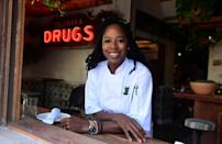 Executive chef and partner, Andrea Drummer, poses at Lowell Farms: A Cannabis Cafe in West Hollywood, California