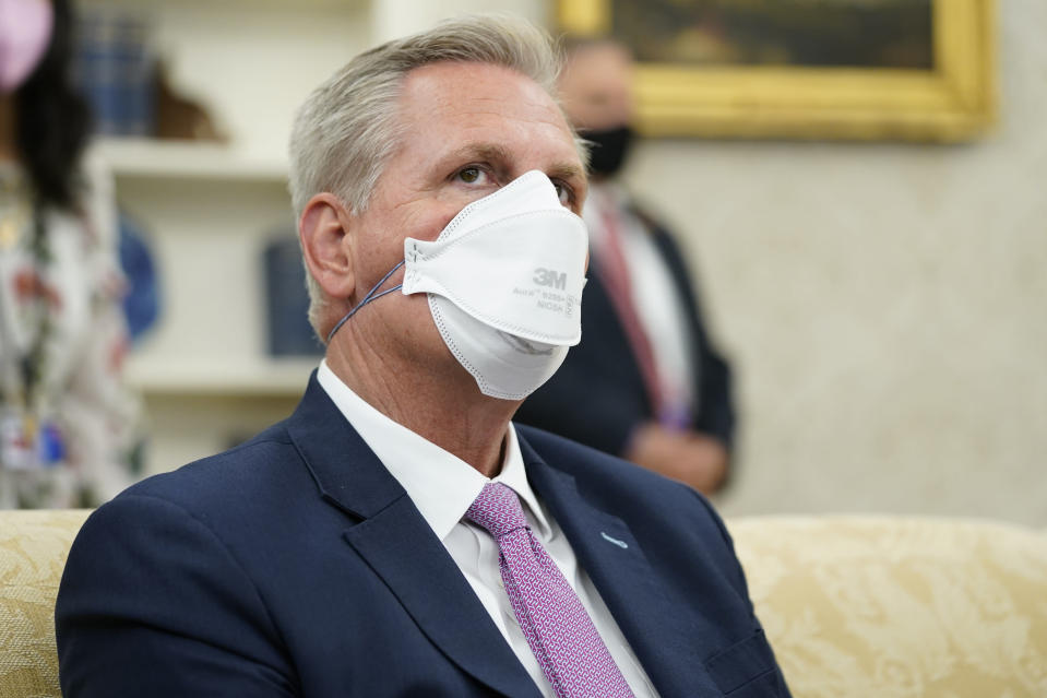 House Minority Leader Kevin McCarthy of Calif., attends a meeting with President Joe Biden and congressional leaders in the Oval Office of the White House, Wednesday, May 12, 2021, in Washington. (AP Photo/Evan Vucci)