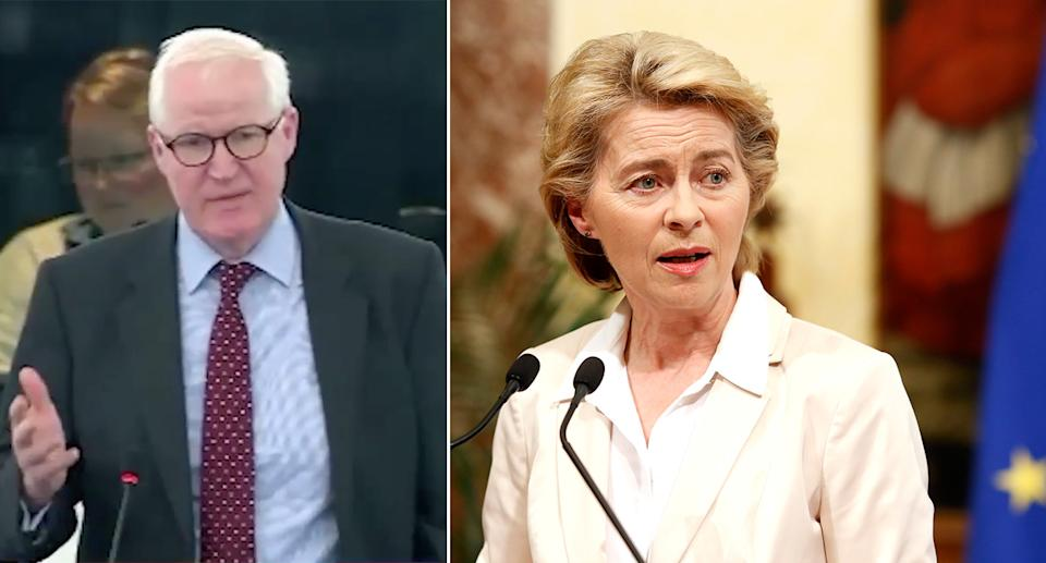 Brexit Party MEP Matthew Patten (left) made the comments after Ursula von der Leyen took over from Jean-Claue Juncker as president of the European Commission. (Twitter/PA)
