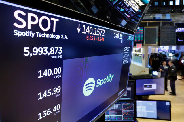 The logo for Spotify appears above the post where it trades on the floor of the New York Stock Exchange. (AP Photo/Richard Drew)