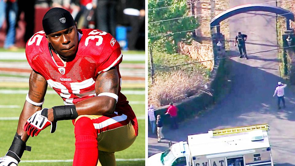 Former NFL cornerback Phillip Adams (pictured left) kneeling and the scene where his body was found (pictured right) after a mass shooting.