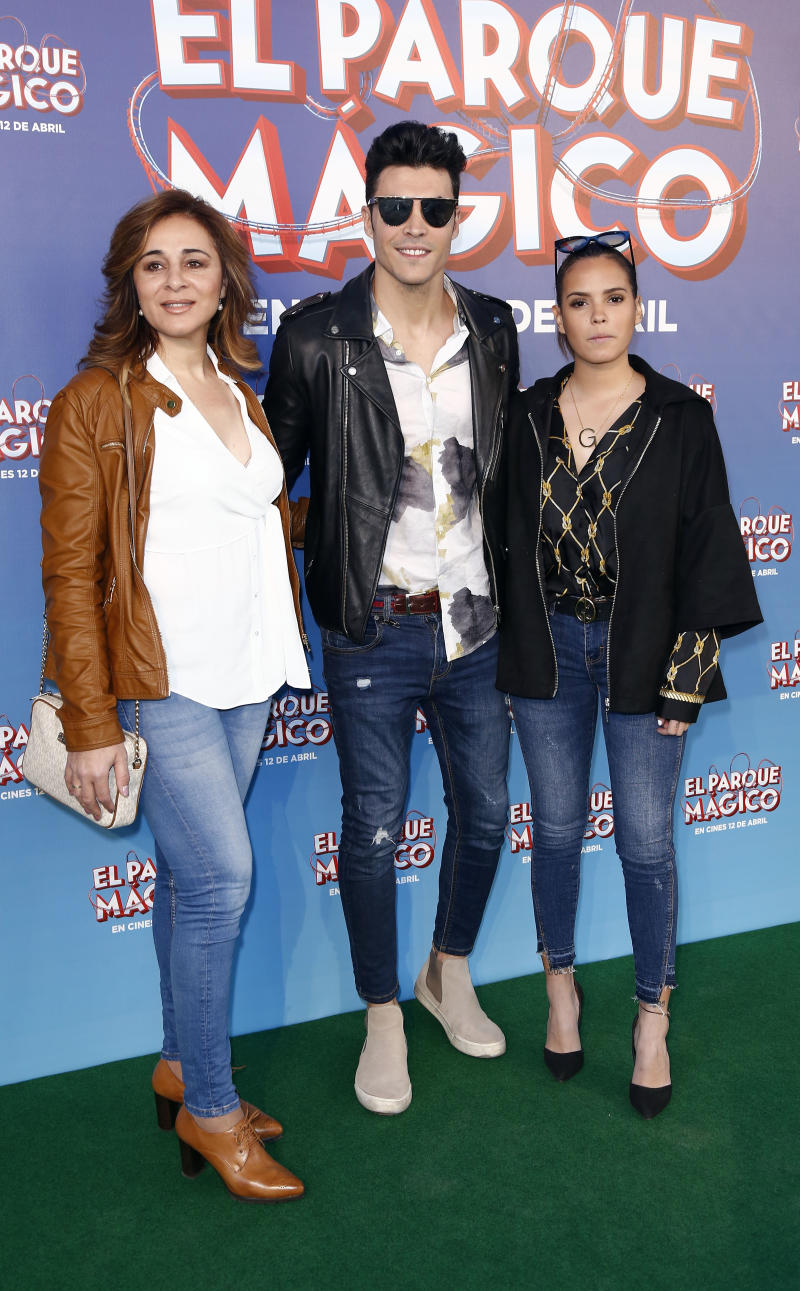 MADRID, SPAIN - MARCH 30: (L-R) Ana Maria Aldon, Kiko Jiménez and Gloria Camila attend 'El parque mágico' premiere at Capitol Cinema on March 30, 2019 in Madrid, Spain. (Photo by Europa Press Entertainment/Europa Press via Getty Images)