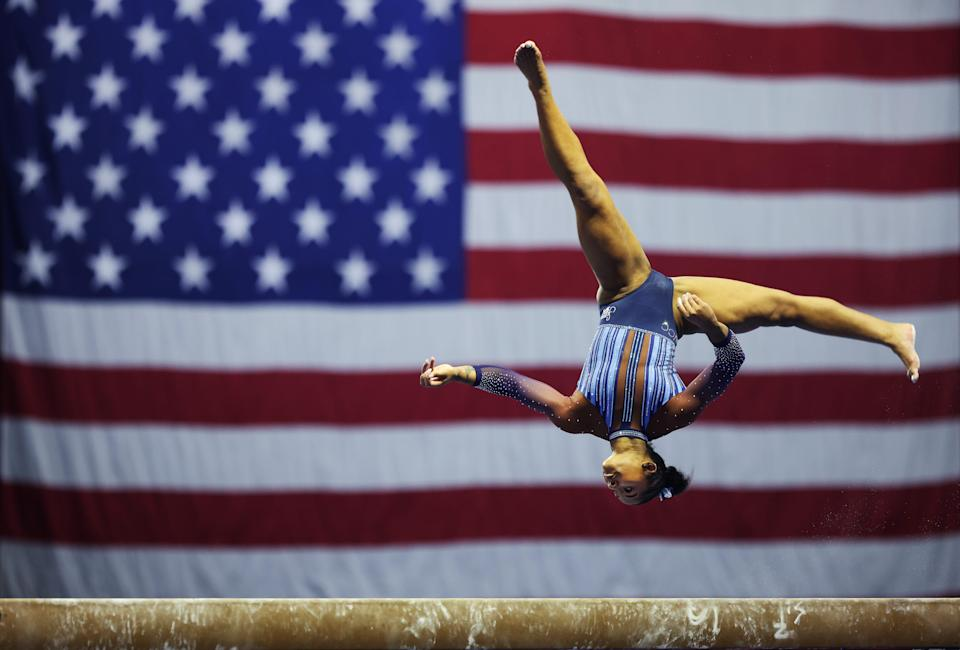 Jordan Chiles competes on the balance beam during the Senior Women's 2021 Winter Cup at the Indiana Convention Center on February 27, 2021, in Indianapolis, Indiana.
