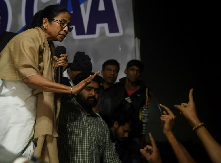 West Bengal Chief Minister Mamata Banerjee, an outspoken critic of Modi, addressed students protesting against the citizenship law in Kolkata (AFP Photo/Dibyangshu SARKAR)