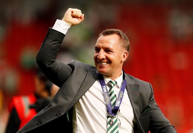 Soccer Football - Scottish Cup Final - Celtic vs Motherwell - Hampden Park, Glasgow, Britain - May 19, 2018 Celtic manager Brendan Rodgers celebrates after winning the Scottish Cup Action Images via Reuters/Jason Cairnduff