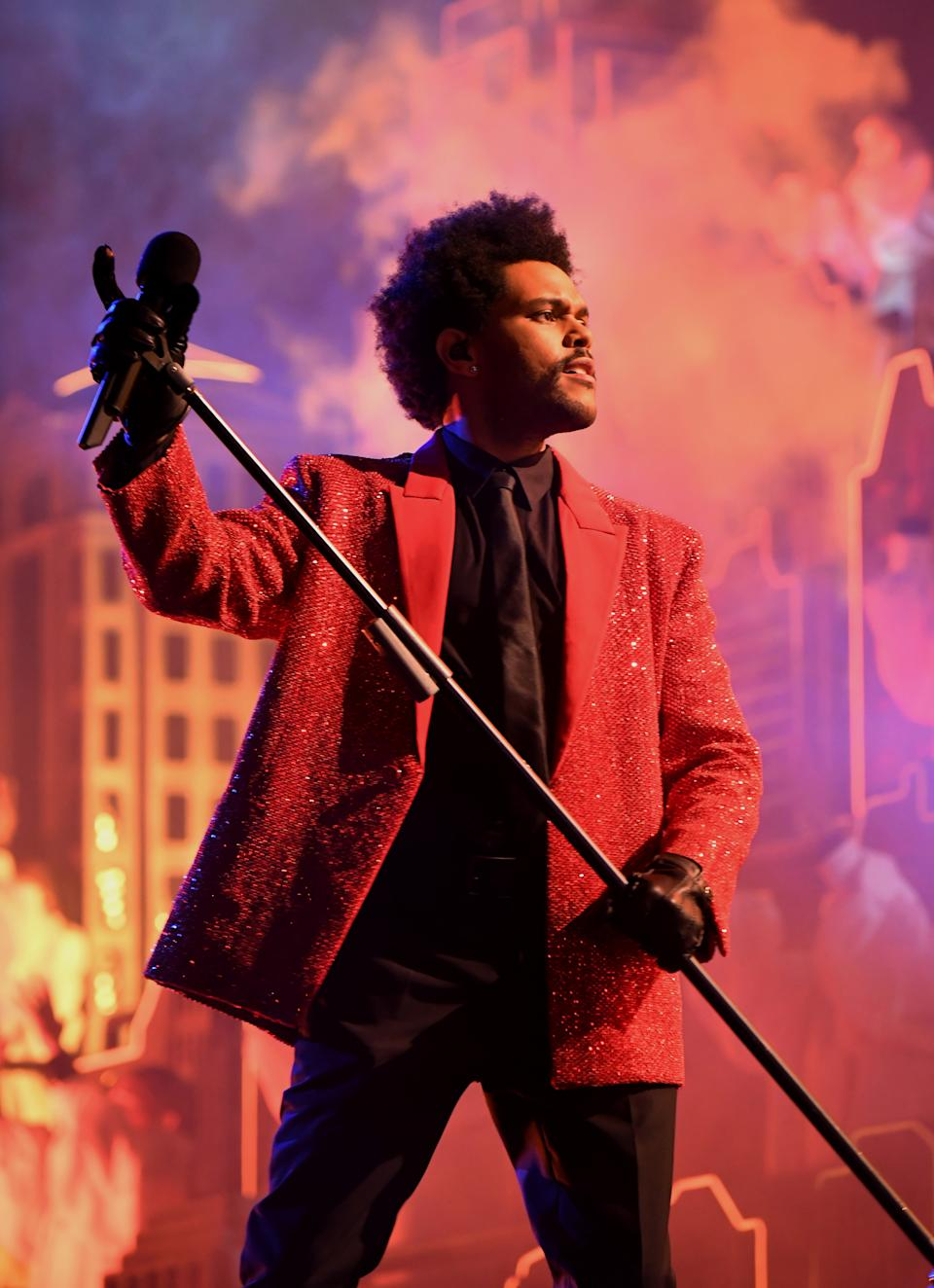 The Weeknd rehearses for the Super Bowl LV Halftime Show at Raymond James Stadium on February 04, 2021 in Tampa, Florida. (Photo by Kevin Mazur/Getty Images for TW)