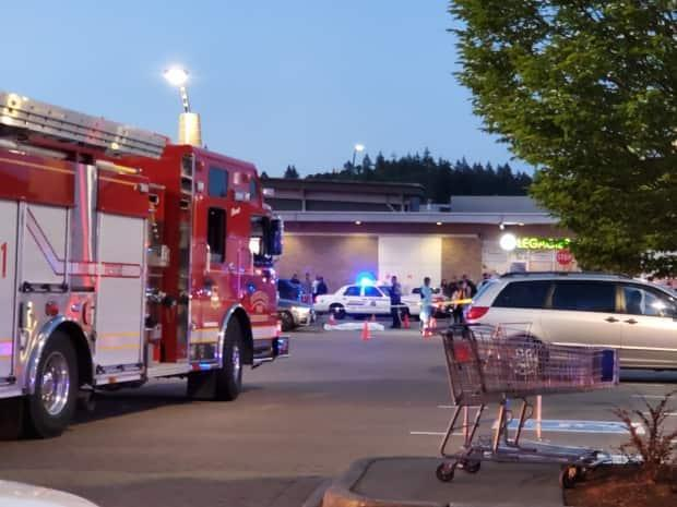 Burnaby RCMP responded to a shooting at the Market Crossing strip mall on Thursday.