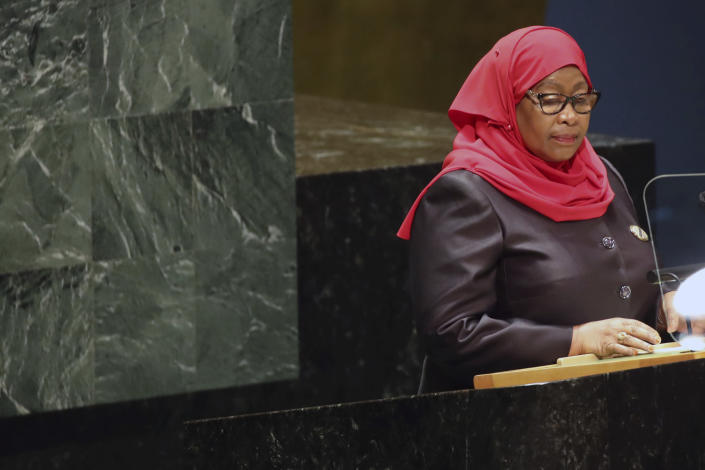 The President of Tanzania, Samia Suluhu Hassan addresses the 76th Session of the U.N. General Assembly at United Nations headquarters in New York, on Thursday, Sept. 23, 2021. (Spencer Platt/Pool Photo via AP)