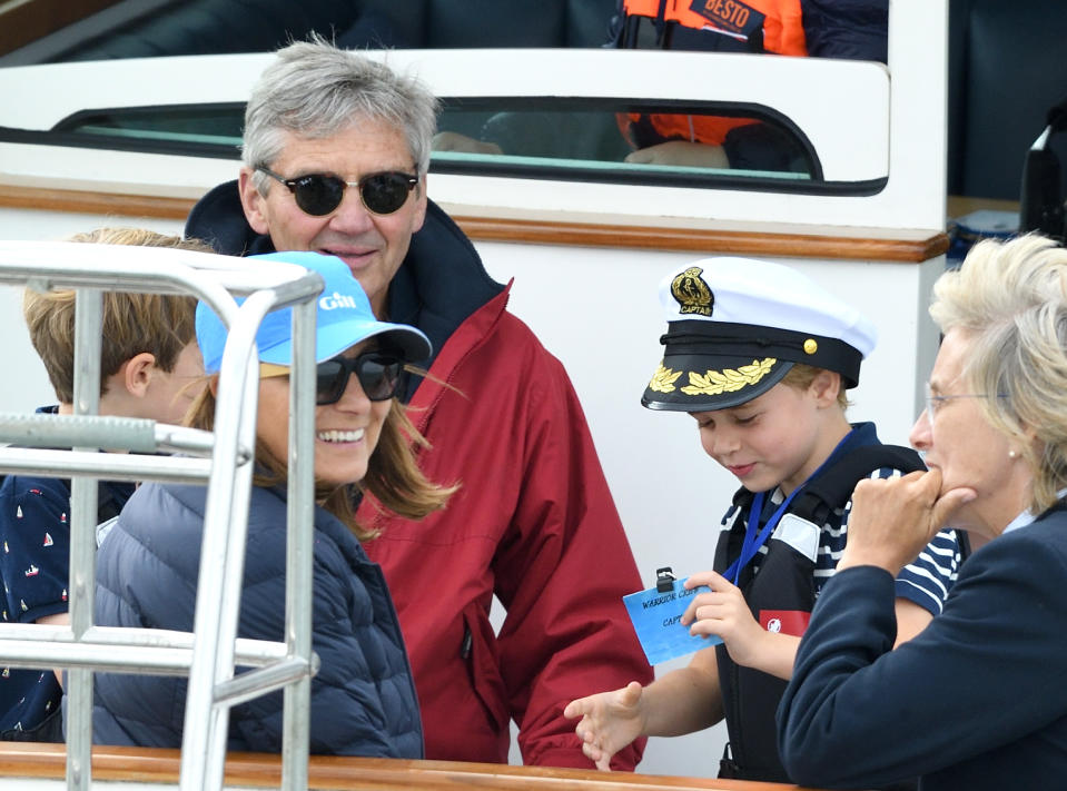 COWES, ENGLAND - AUGUST 08: Michael Middleton, Carole Middleton and Prince George attend the King's Cup Regatta on August 08, 2019 in Cowes, England. (Photo by Karwai Tang/WireImage)
