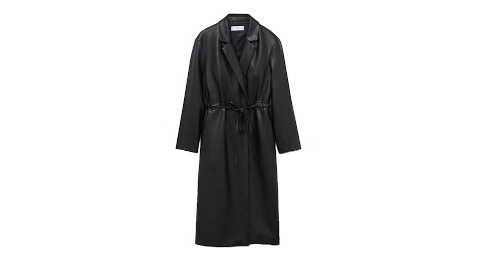 Belt leather-effect coat