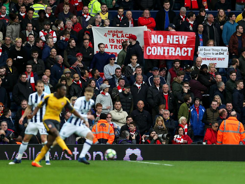 Arsenal's travelling support made their disgruntlement known: Getty