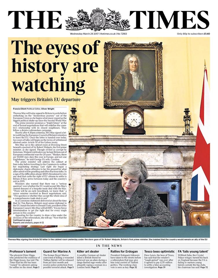 <p>A slightly menacing headline from The Times, who warned that 'the eyes of history are watching' us as Britain begins its departure from the EU. </p>