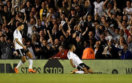 Soccer Football - Championship Play Off Semi Final Second Leg - Fulham vs Derby County - Craven Cottage, London, Britain - May 14, 2018 Fulham's Denis Odoi celebrates scoring their second goal Action Images via Reuters/Tony O'Brien