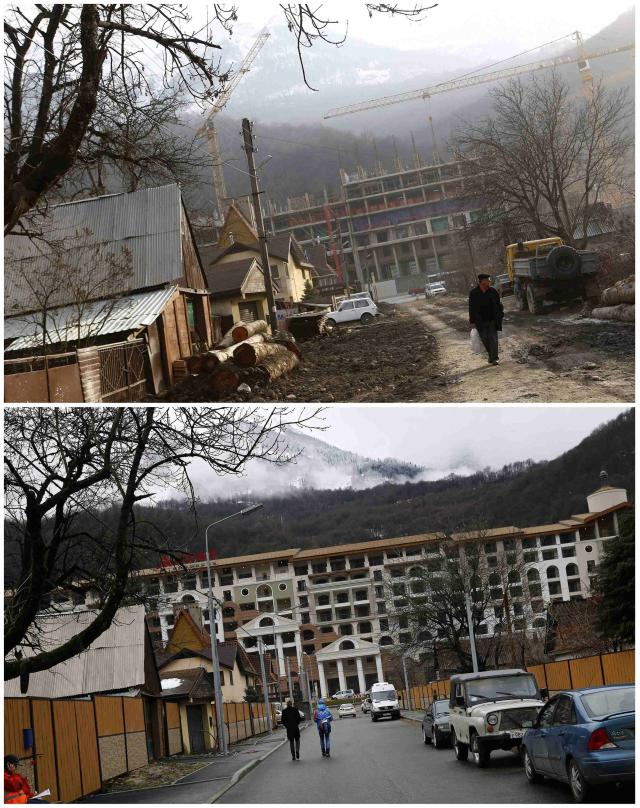A combination of two pictures shows the development of construction within the last eleven months in the village of Krasnaya Polyana near Sochi, January 30, 2014. Picture on the top was taken in February 2013. Sochi will host the 2014 Winter Olympic Games from February 7 to 23. REUTERS/Kai Pfaffenbach (RUSSIA - Tags: SPORT OLYMPICS)