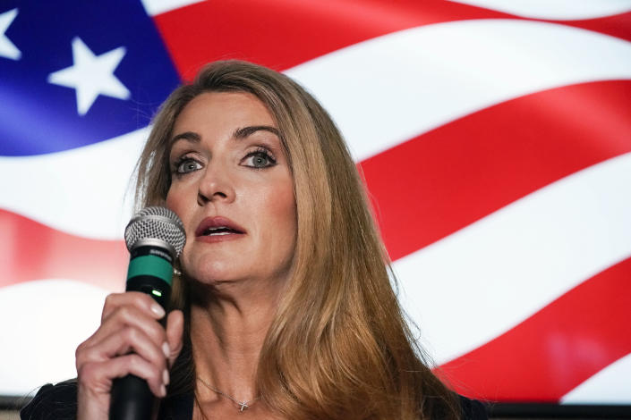 FILE - In this Nov. 13, 2020, file photo Republican candidate for U.S. Senate Sen. Kelly Loeffler speaks at a campaign rally in Cumming, Ga. Loeffler and Democratic candidate Raphael Warnock are in a runoff election for the Senate seat in Georgia. (AP Photo/Brynn Anderson, File)