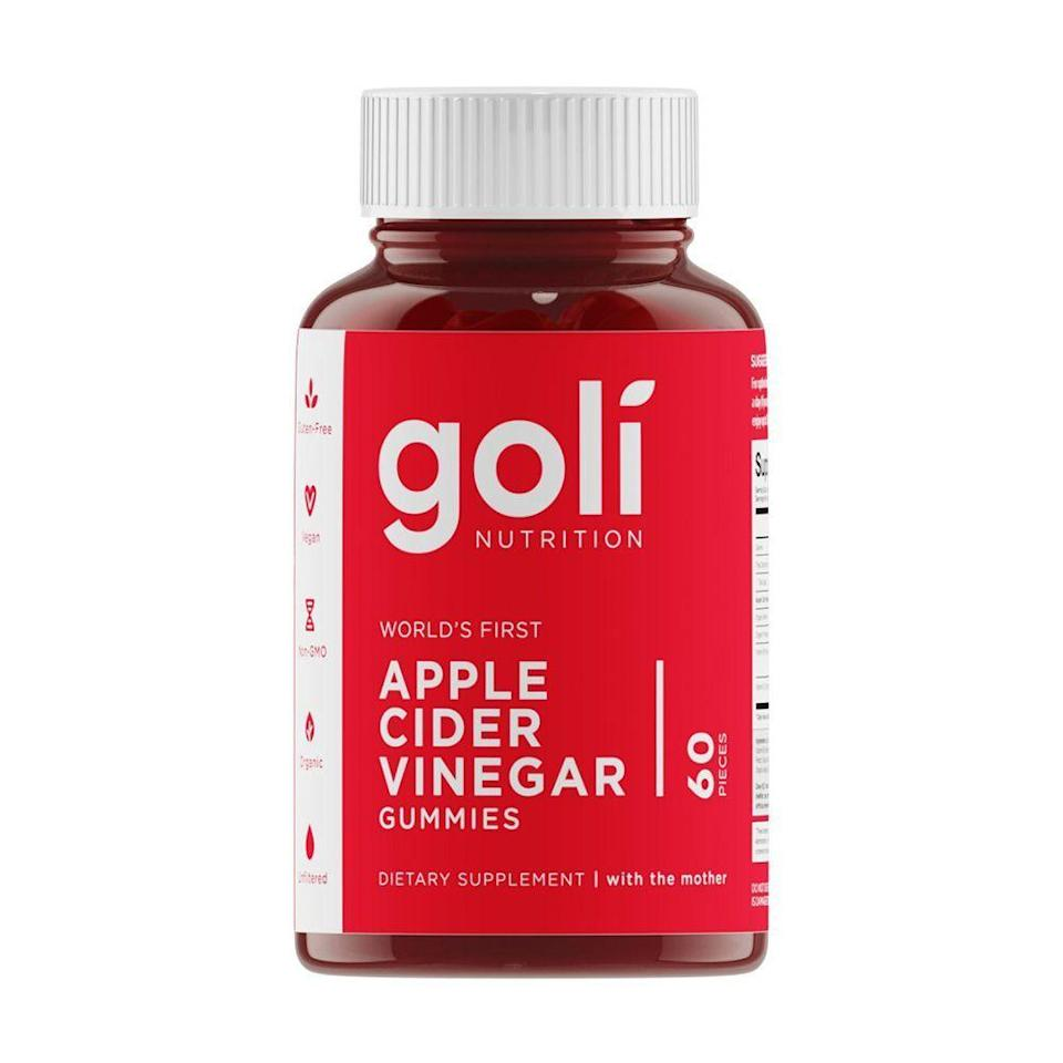 """<p><strong>Goli Nutrition</strong></p><p>amazon.com</p><p><strong>$18.98</strong></p><p><a href=""""https://www.amazon.com/dp/B07R8GD47V?tag=syn-yahoo-20&ascsubtag=%5Bartid%7C2089.g.3486%5Bsrc%7Cyahoo-us"""" rel=""""nofollow noopener"""" target=""""_blank"""" data-ylk=""""slk:Shop Now"""" class=""""link rapid-noclick-resp"""">Shop Now</a></p><p>Apple cider vinegar has a slew of <a href=""""https://www.bestproducts.com/eats/g29625270/apple-cider-vinegar-gummies/"""" rel=""""nofollow noopener"""" target=""""_blank"""" data-ylk=""""slk:health benefits"""" class=""""link rapid-noclick-resp"""">health benefits</a>, including aiding in weight loss and boosting skin health, and gummies are among the easiest ways to get your dose. The Goli gummies are vegan, organic, and gluten-free, and people are raving in the reviews about how they're working for them.</p>"""