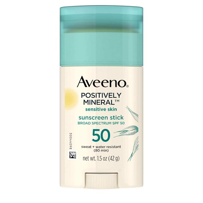 """<p>Since this lightweight, non-greasy formula formulated with 100 percent zinc oxide and soothing oats, the chances of Aveeno's Sensitive Skin Sunscreen Stick SPF 50 irritating your skin are slim to none. This 2020 <em>Allure</em> Best of Beauty winner is also sweat- and water-resistant for up to 80 minutes, so it provides top-notch sun protection during workouts, beach outings, and everything in between. </p> <p><strong>$13</strong> (<a href=""""https://shop-links.co/1726180276379258637"""" rel=""""nofollow noopener"""" target=""""_blank"""" data-ylk=""""slk:Shop Now"""" class=""""link rapid-noclick-resp"""">Shop Now</a>) </p>"""