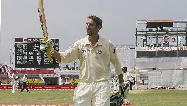 Jason Gillespie after scoring the double century against Bangladesh