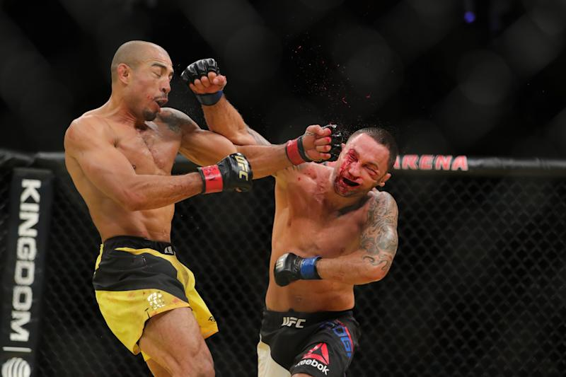 Frankie Edgar, left, looks to bounce back from his loss to Jose Aldo at UFC 200. (Getty Images)