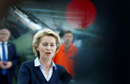 German Defence Minister Ursula von der Leyen speaks during her visit of the Transport Helicopter Regiment 30 (Transporthubschrauberregiment 30) at the Hermann-Koehl-Kaserne in Niederstetten