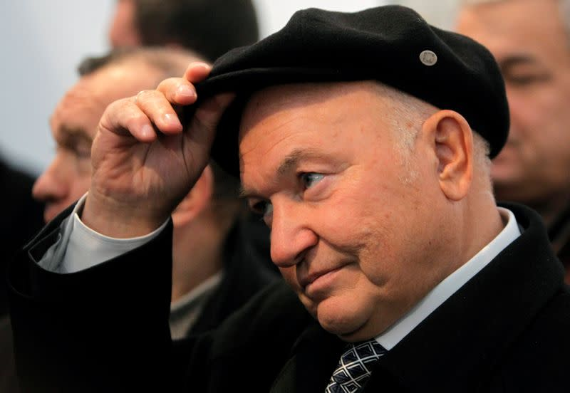 FILE PHOTO: Yuri Luzhkov, who has died aged 83, is seen attending a ceremony when he was Moscow mayor to start the construction of a new section of the city underground railway