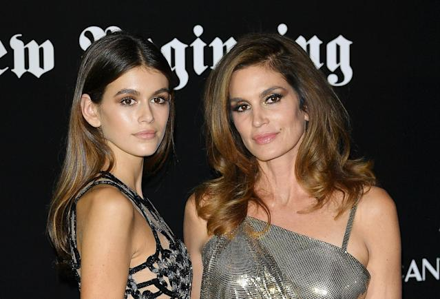 MILAN, ITALY – SEPTEMBER 22: Kaia Gerber and Cindy Crawford attend theVogue Italia 'The New Beginning' Party during Milan Fashion Week Spring/Summer 2018 on September 22, 2017 in Milan, Italy. (Photo by Venturelli/Getty Images)