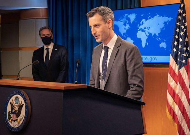 PHOTO: Department Spokesperson Ned Price introduces Secretary of State Antony J. Blinken before he delivers remarks to the media at the U.S. Department of State in Washington, D.C. on January 27, 2021. (Freddie Everett/State Department)