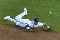 Boston Red Sox second baseman Michael Chavis cannot make a play on a single by New York Yankees' Gleyber Torres in the sixth inning of a baseball game at Fenway Park, Thursday, July 22, 2021, in Boston. (AP Photo/Elise Amendola)