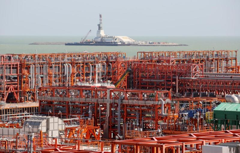 Oil rig and infrastructure of D Island are pictured at Kashagan offshore oil field in Caspian sea in western Kazakhstan