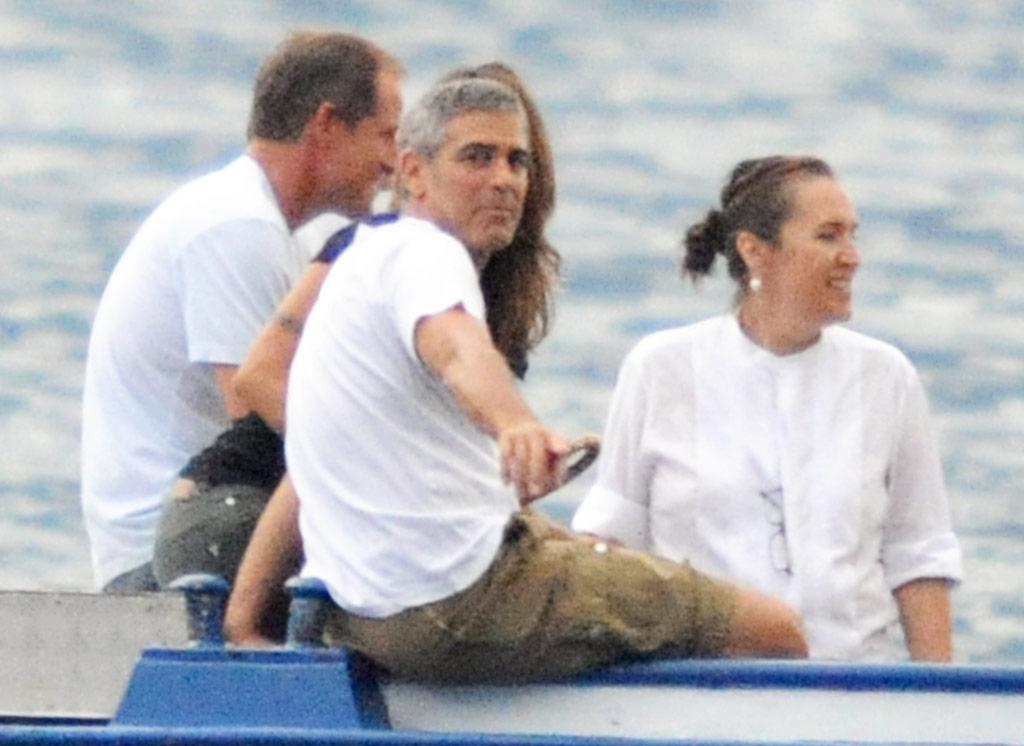 "Spotted enjoying his summer in Lake Como Friday, George Clooney had better dust off his tux come September. The Academy of Television Arts and Sciences will present the 49-year-old actor with its Bob Hope Humanitarian Award at the Emmys next month. LaPresse/<a href=""http://www.x17online.com"" target=""new"">X17 Online</a> - July 23, 2010"